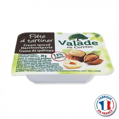 Pâte à tartiner aux noisettes Valade en barquette 20gr