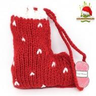 Petite Botte de Noël tricotée avec chocolats Prêt à Offrir