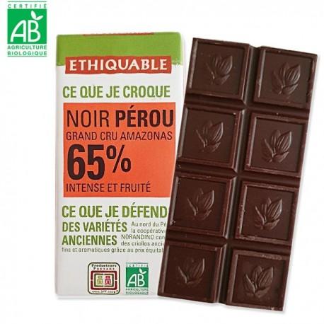 Ethiquable Mini tablette de chocolat noir 65% du Pérou 30gr