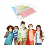 Masques Enfant en Couleurs Bleu, Vert, Jaune, Rose et Blanc