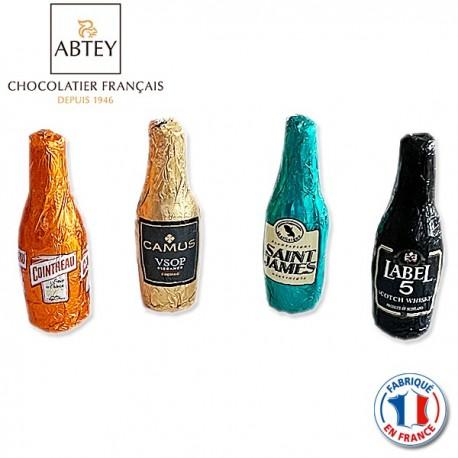 Bouteilles en chocolat fourrées à la liqueur Whisky, Cognac, Grand Marnier, Rhum