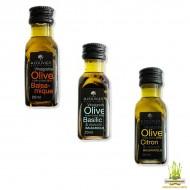 Mignonettes de vinaigrettes Nature, Citron ou au Basilic 20 ml A l'Olivier