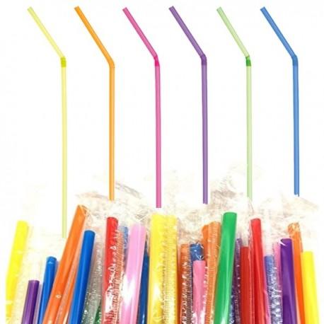 Paille en Plastique Neon emballée individuellement