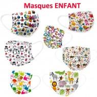Masque pour enfant décoré dessin animé Chat, Dinosaures, Jungle...